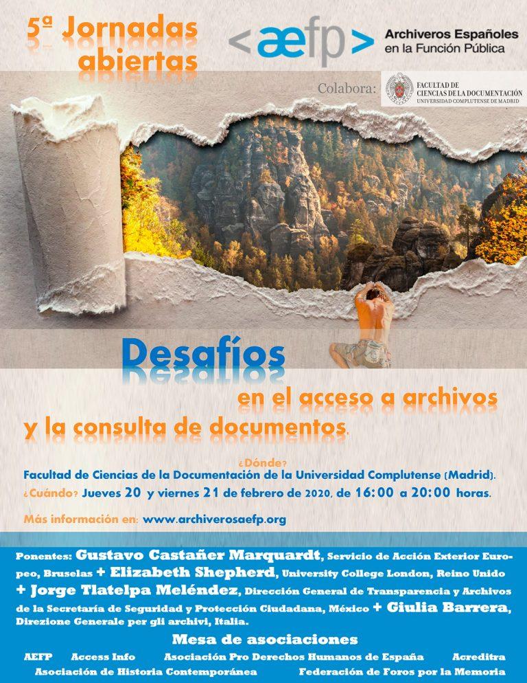 V Jornadas de Acceso a los Archivos organizadas por AEFP.