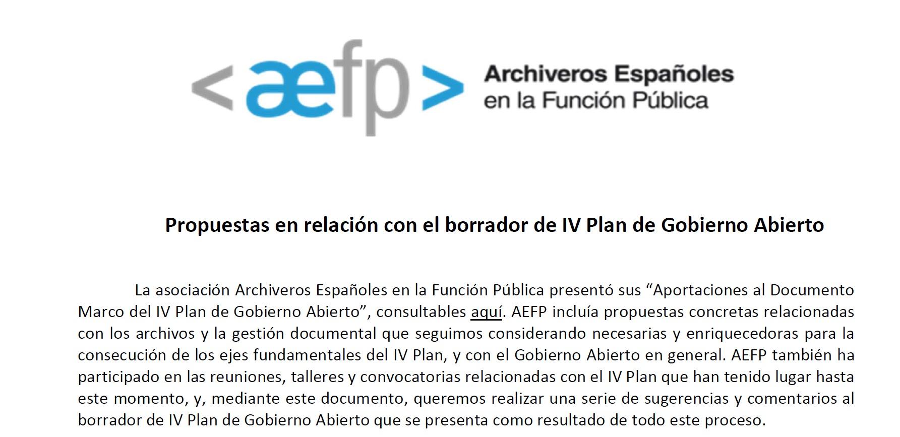 Aportaciones de AEFP al IV Plan de Gobierno abierto